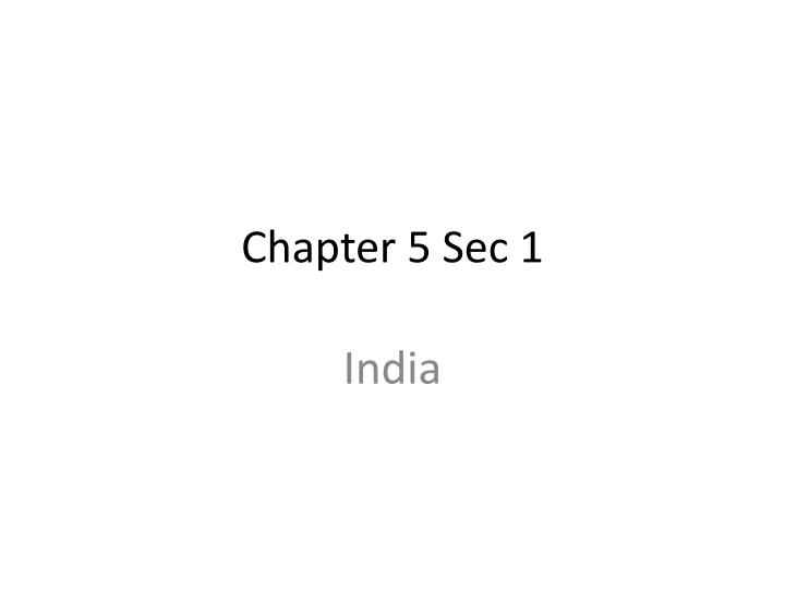 Chapter 5 sec 1