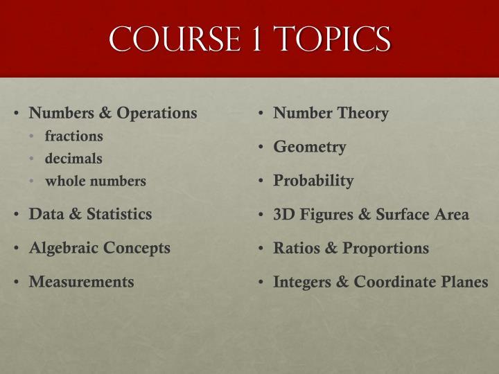 course 1 topics