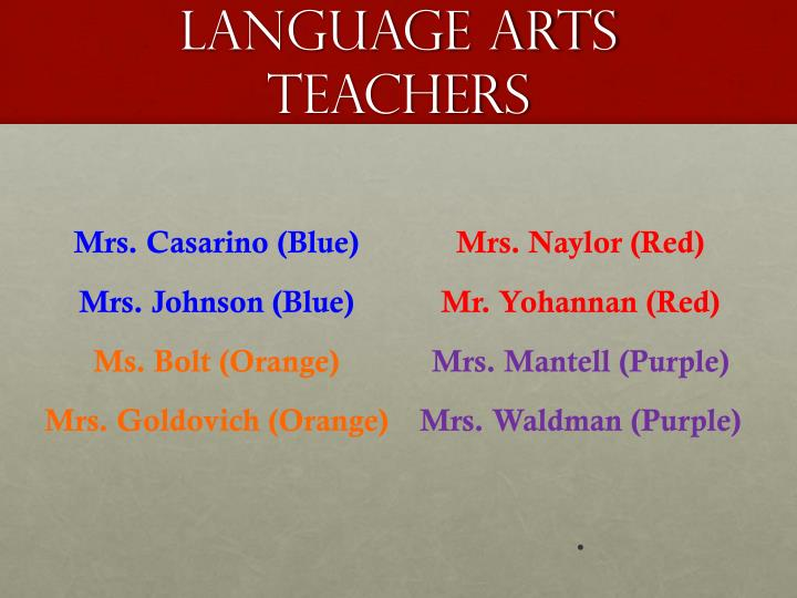 Language Arts teachers