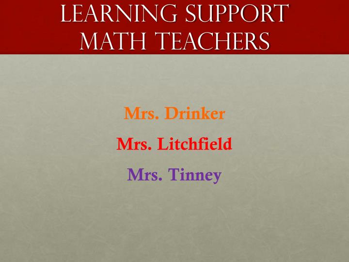 Learning support math teachers