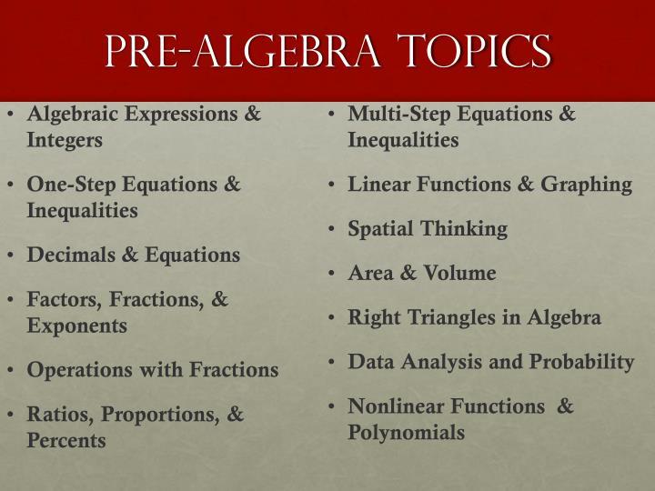 pre-algebra topics