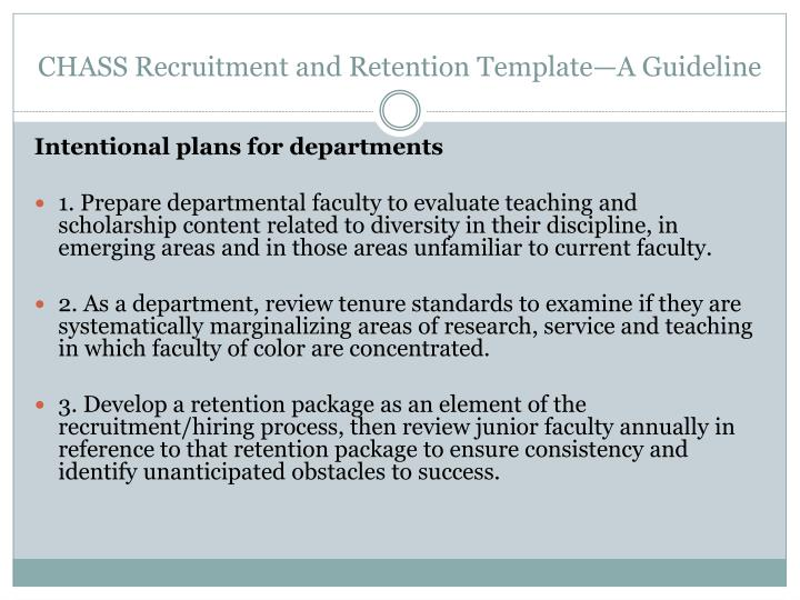 CHASS Recruitment and Retention Template—A Guideline