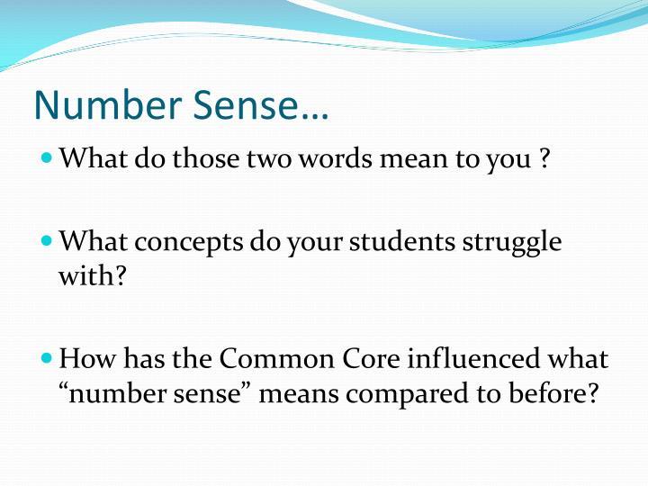 Number Sense…