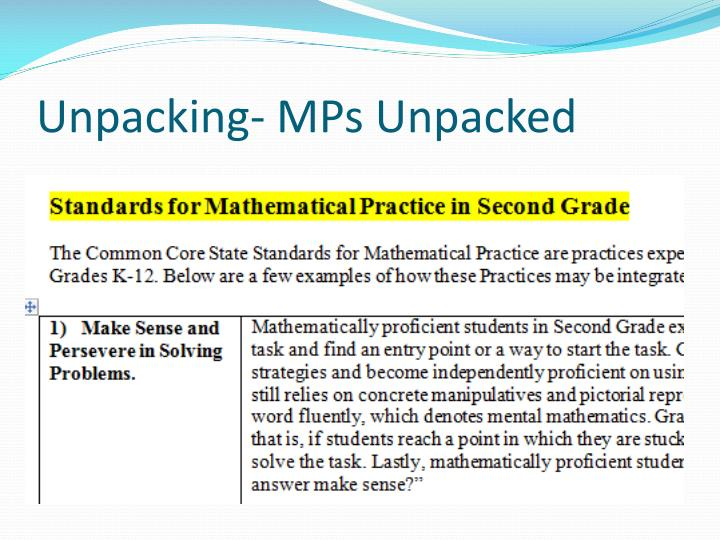Unpacking- MPs Unpacked