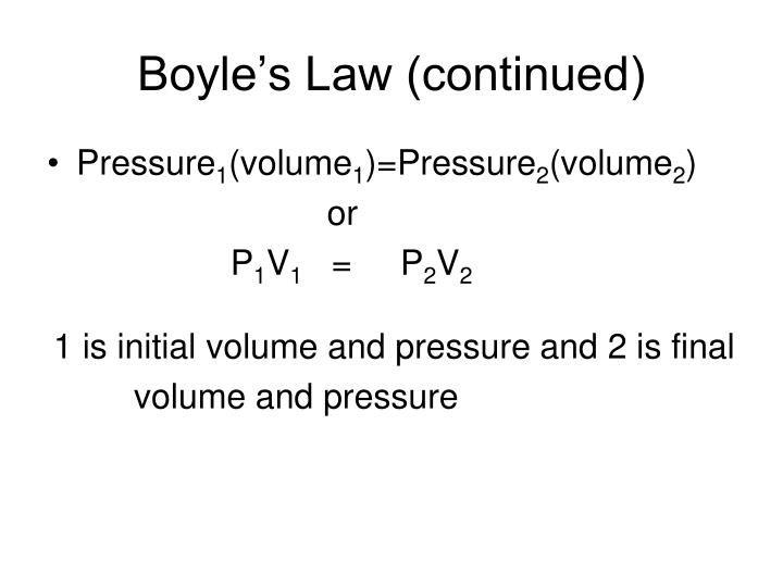 Boyle's Law (continued)