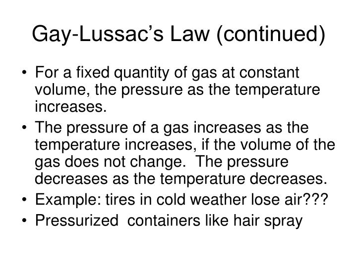 Gay-Lussac's Law (continued)