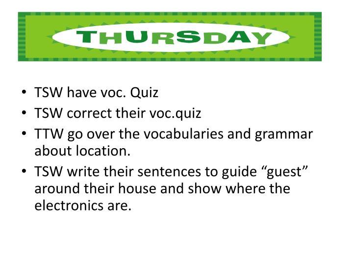 TSW have voc. Quiz