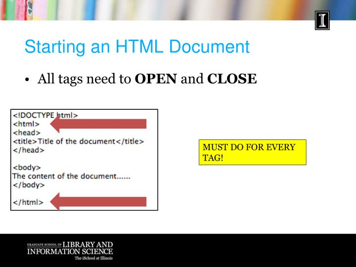 Starting an HTML Document