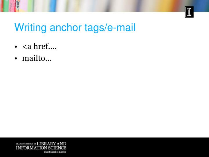 Writing anchor tags/e-mail