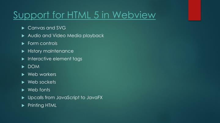 Support for HTML 5 in