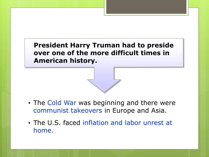 President Harry Truman had to preside over one of the more difficult times in American history.