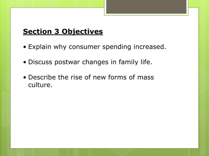Section 3 Objectives