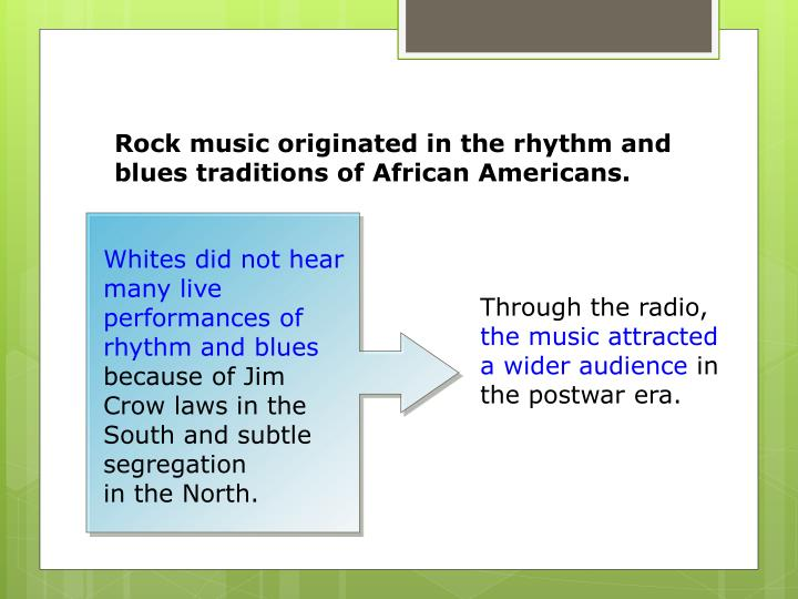 Whites did not hear many live performances of rhythm and blues