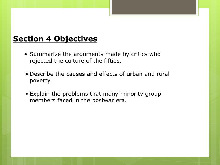 Section 4 Objectives