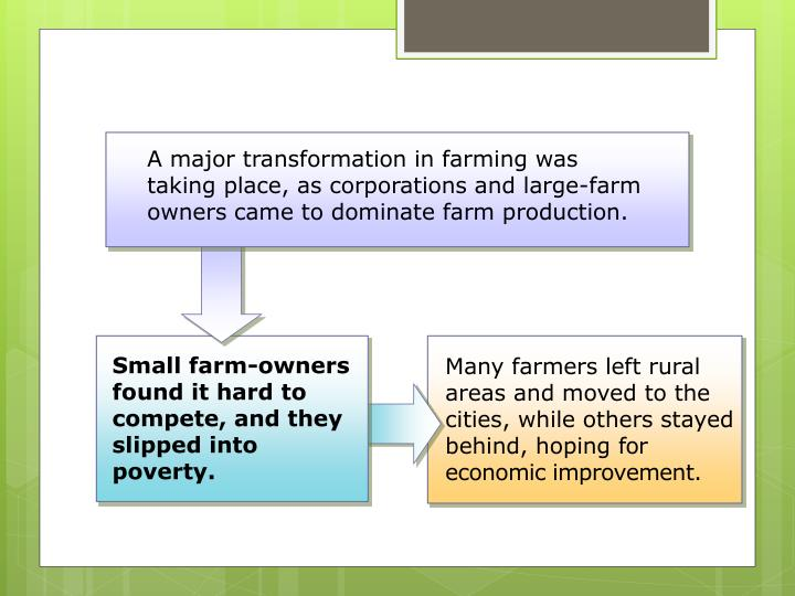 A major transformation in farming was taking place, as corporations and large-farm owners came to dominate farm production.