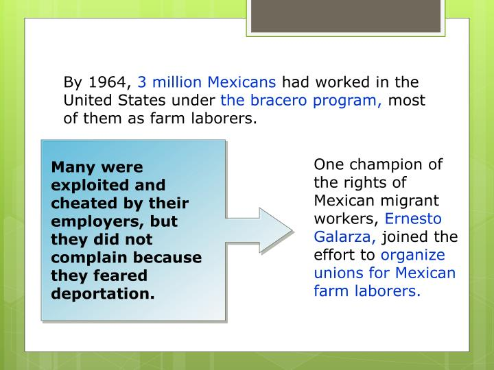 Many were exploited and cheated by their employers, but they did not complain because they feared deportation.