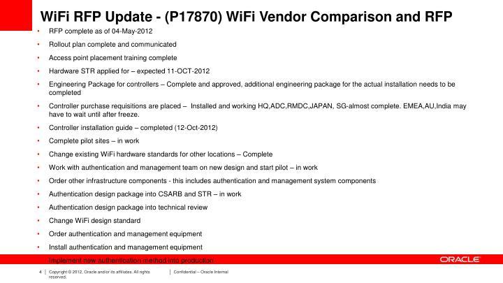 WiFi RFP Update - (P17870) WiFi Vendor Comparison and RFP