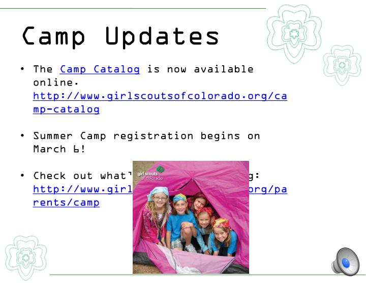 Camp Updates