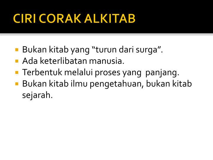CIRI CORAK ALKITAB