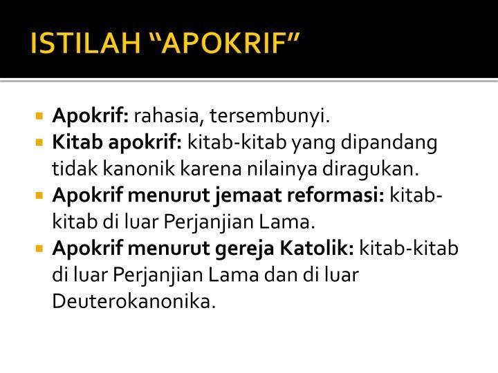 "ISTILAH ""APOKRIF"""