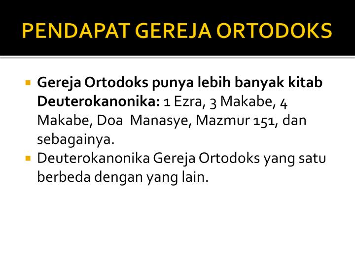 PENDAPAT GEREJA ORTODOKS