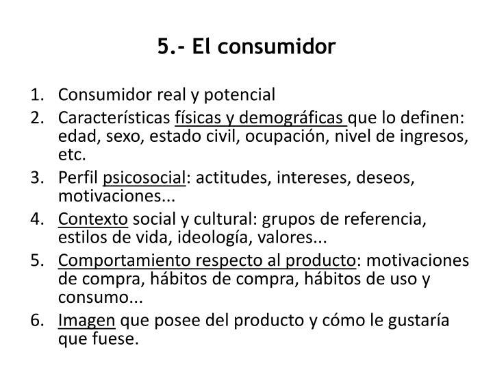 5.- El consumidor
