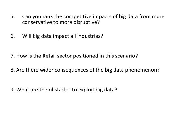 Can you rank the competitive impacts of big data from more conservative to more disruptive?