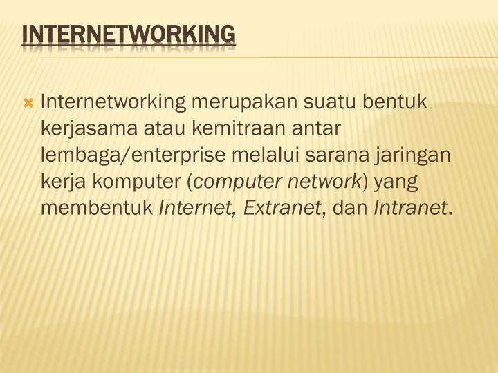 Internetworking merupakan suatu bentuk kerjasama atau kemitraan antar lembaga/enterprise melalui sarana jaringan kerja komputer (