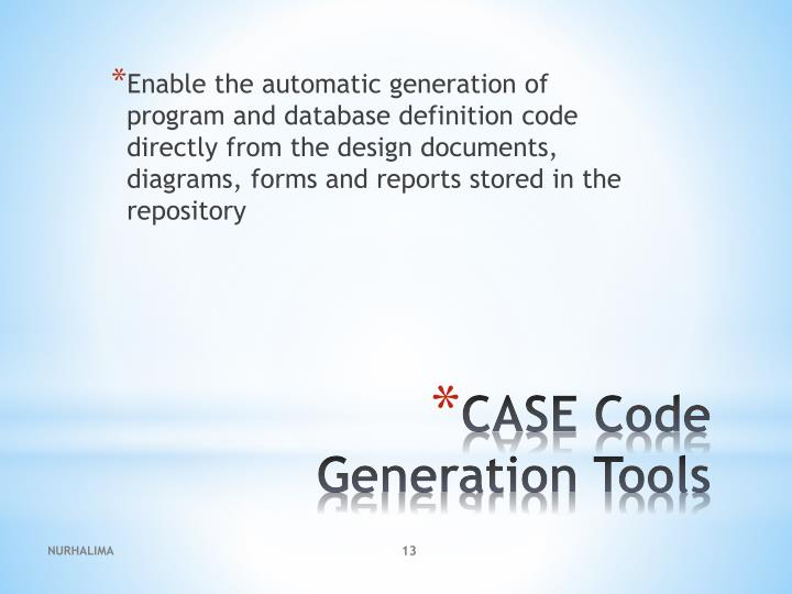 Enable the automatic generation of program and database definition code directly from the design documents, diagrams, forms and reports stored in the repository