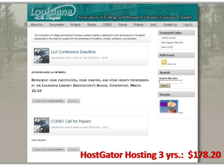 HostGator Hosting 3 yrs.:  $178.20