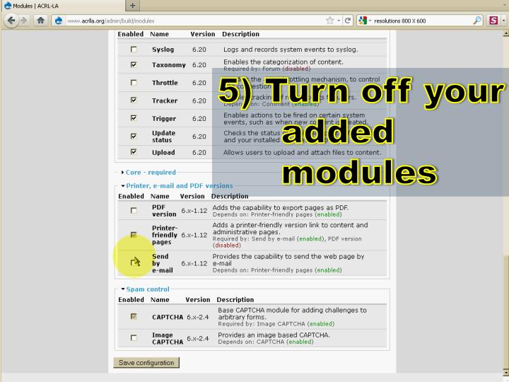 5) Turn off your added modules