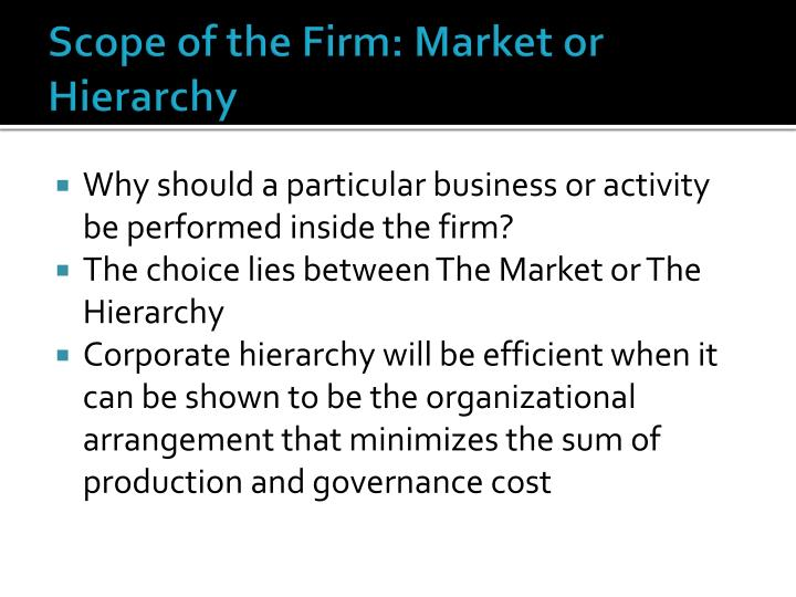 Scope of the Firm: Market or Hierarchy