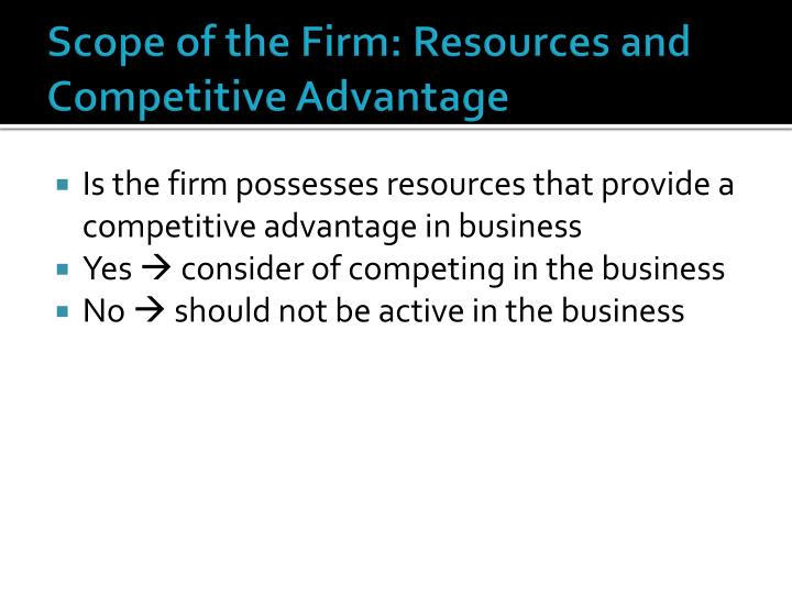 Scope of the firm resources and competitive advantage
