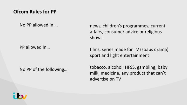 Ofcom rules for pp