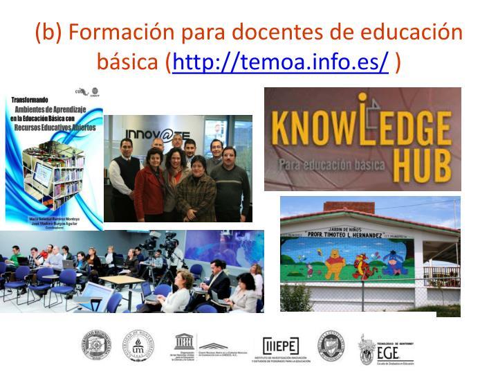 (b) Formación para docentes de educación