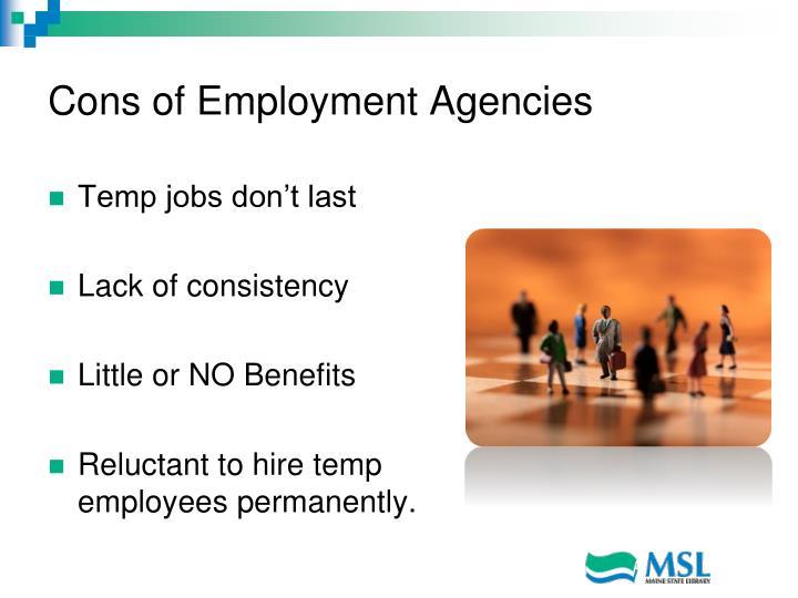 Cons of Employment Agencies