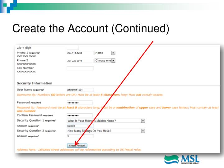 Create the Account (Continued)