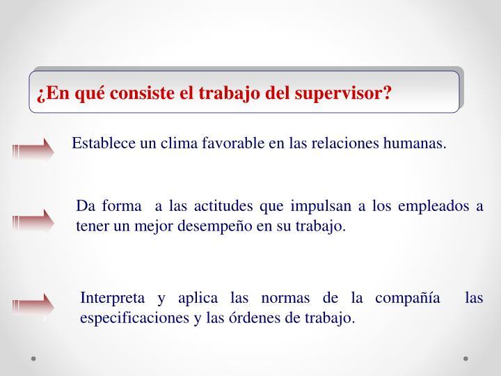 ¿En qué consiste el trabajo del supervisor?