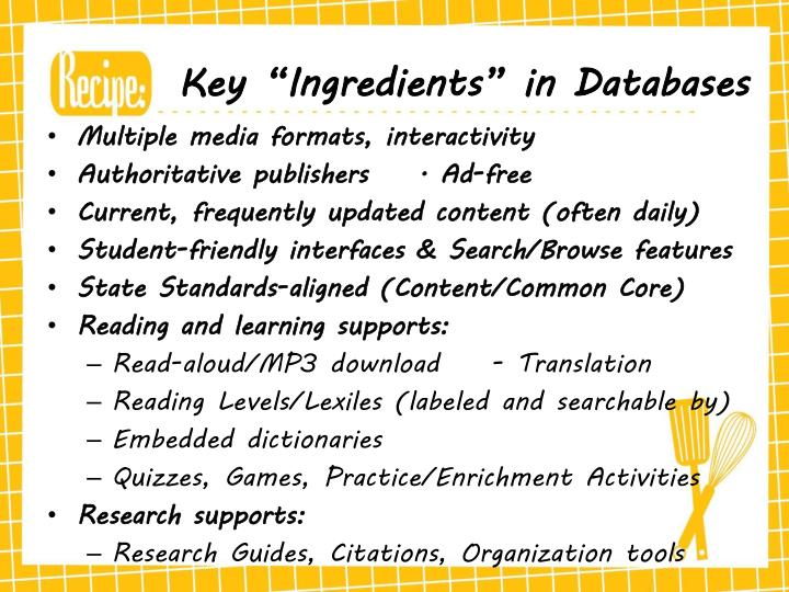 "Key ""Ingredients"" in Databases"