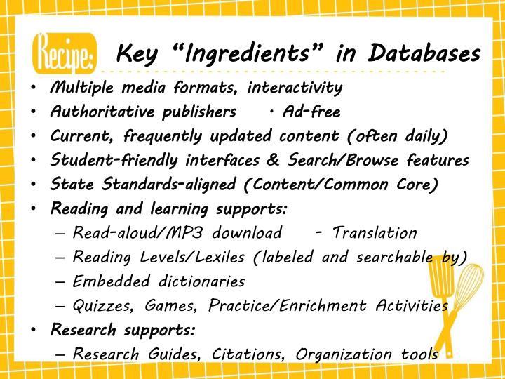 """Key """"Ingredients"""" in Databases"""