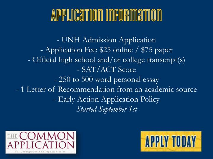 - UNH Admission Application
