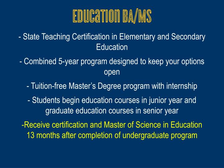 State Teaching Certification in Elementary and Secondary Education