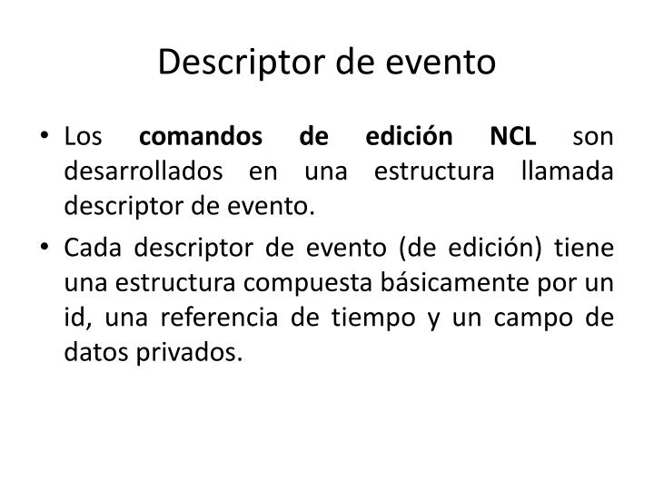 Descriptor de evento