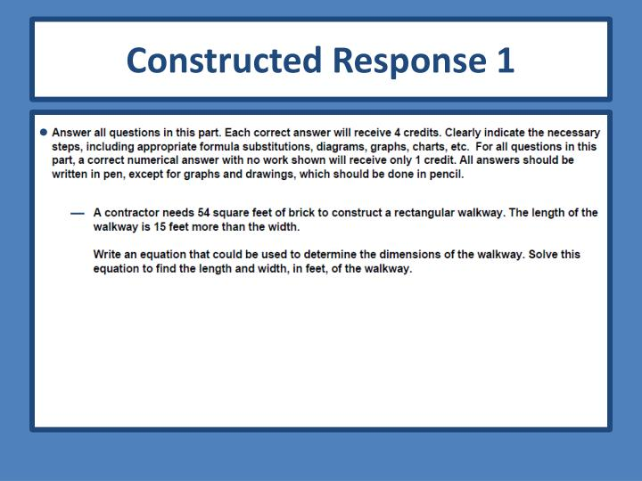 Constructed Response 1