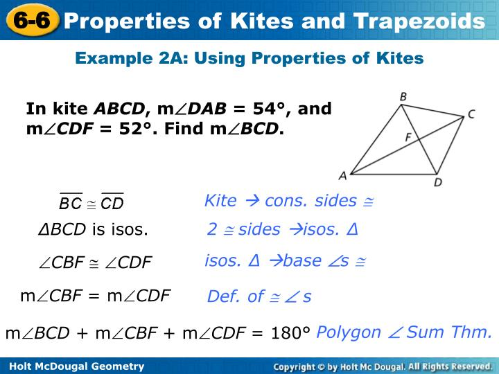 Example 2A: Using Properties of Kites