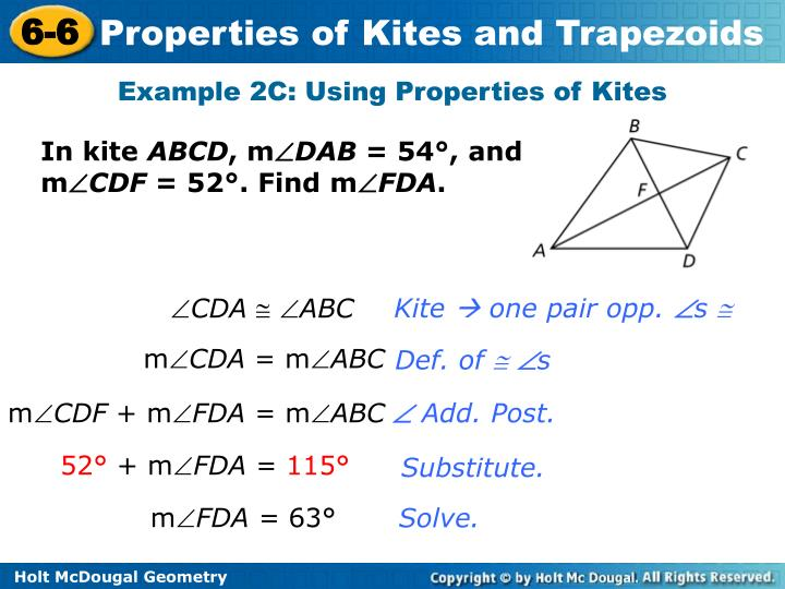 Example 2C: Using Properties of Kites