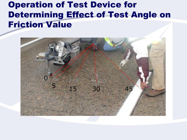 Operation of Test Device for Determining Effect of Test Angle on Friction Value