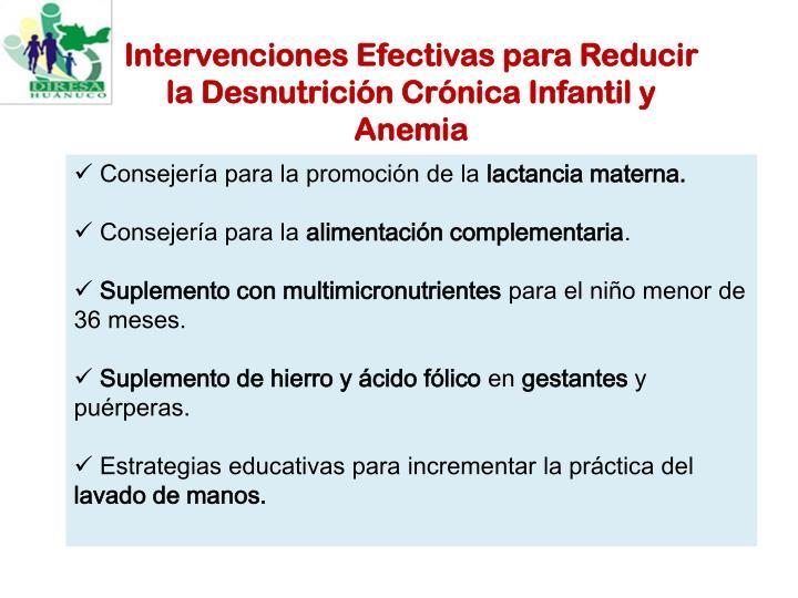 Intervenciones Efectivas para Reducir la Desnutrición Crónica Infantil y Anemia