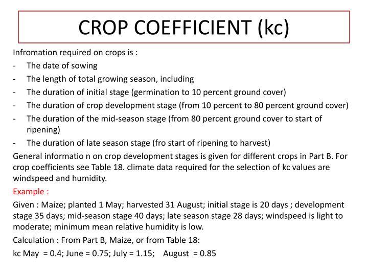 CROP COEFFICIENT (