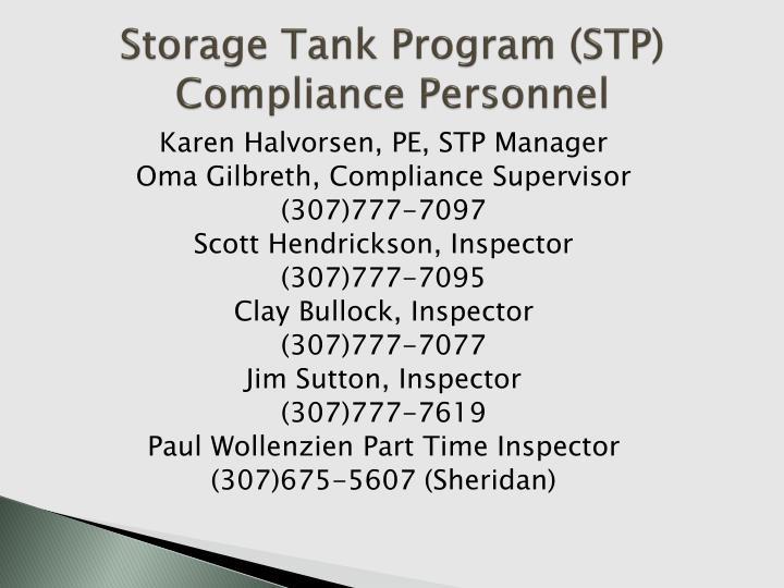 Storage Tank Program (STP)
